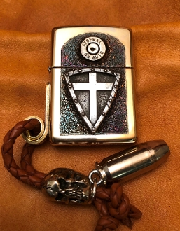 Sterling Silver Crusader Zippo Cross Shield